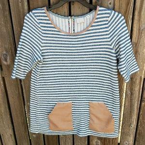 Postmark Striped Tunic Anthro L Pockets Nautical